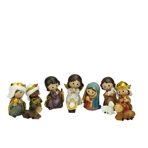 11-Piece Multi-Color Children's First Religious Nativity Figurine Set 3.5""