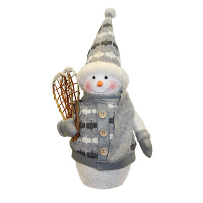 "10"" Alpine Chic Gray and White Sparkling Snowman with Snowshoes Christmas Decoration"""