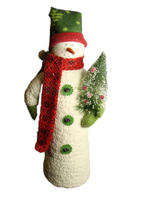 "17"" Fluffy Cone-Shaped Snowman with Berry Tree Christmas Table Figure"""