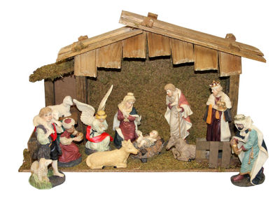 12-Piece Hand Painted Religious Christmas NativityFigurine and Stable Set