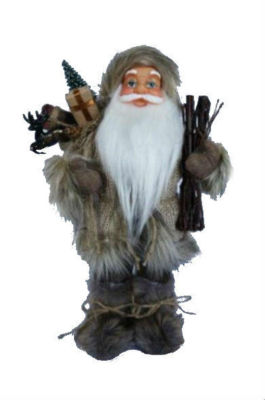 "13"" Alpine Chic Beige and Gray Santa with Snowshoes and Gift Bag Decorative Christmas Figure"""