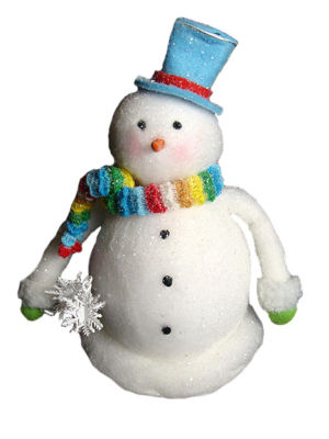 "9"" Cupcake Heaven Chubby Snowman with Rainbow KnitScarf Christmas Table Figure"""