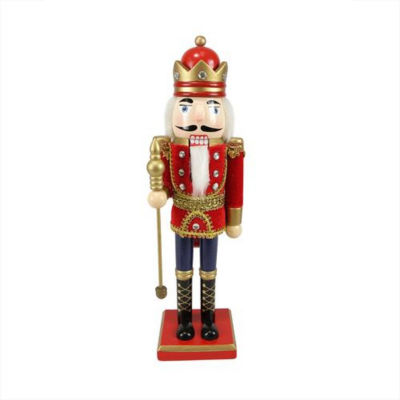 """14"""" Decorative Wooden Red  Blue and Gold ChristmasNutcracker King with Scepter"""""""