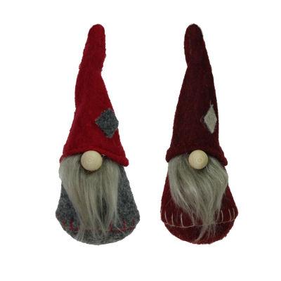 "Set of 2 Gray Burgundy and Red Santa Gnomes Hanging Christmas Ornaments 4.75"""