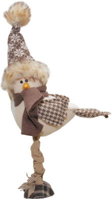 "7.75"" Standing Bird with Nordic Inspired Hat Tabletop Decoration"""