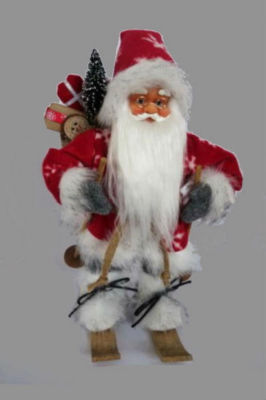 """18"""" Alpine Chic Red and Gray Snowflake Skiing Santa with Gift Bag Decorative Christmas Figure"""""""