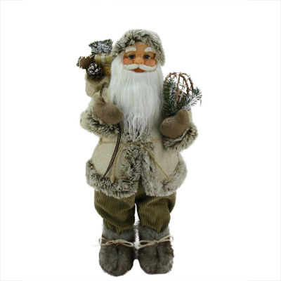 """24"""" Alpine Chic Beige and Brown Burlap and Corduroy Standing Santa with Snowshoes and Gift Bag"""""""