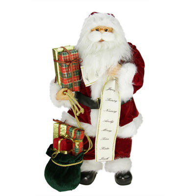 "24"" Traditional Standing Santa Claus Christmas Figure with Name List and Gift Bag"""