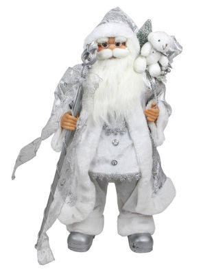 """24"""" Winter Frost Standing White and Silver Santa Claus with Staff and Gift Bag Christmas Figure"""""""