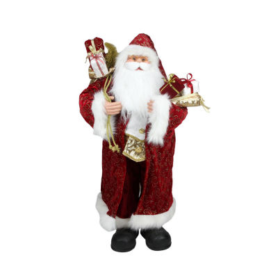 """32"""" Standing Santa Claus in Long Red and Gold Robewith Gifts Christmas Figure"""""""