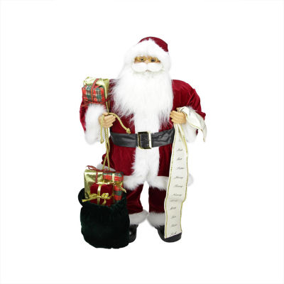 "32"" Traditional Standing Santa Claus Christmas Figure with Name List and Gift Bag"""