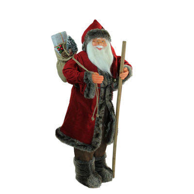 "48"" Standing Red and Brown Jolly Santa Claus Christmas Figure with Walking Stick"
