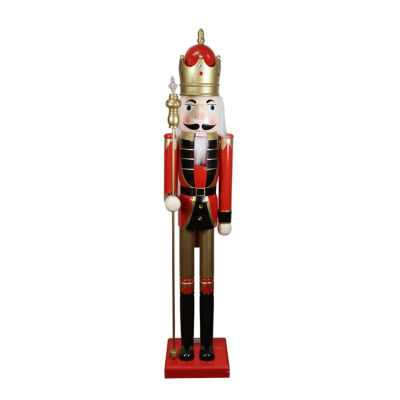 5' Decorative Commerical Size Red King Wooden Christmas Nutcracker with Scepter