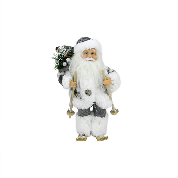 "9"" Country Patchwork Skiing Santa Claus ChristmasFigure"""