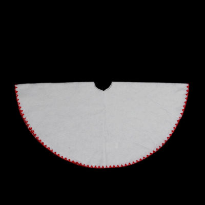 """26"""" Christmas Traditions Winter White with Red Shell Stitching Mini Christmas Tree Skirt"""