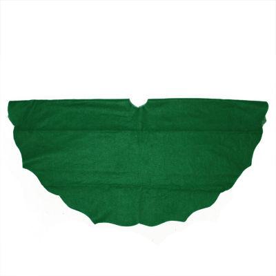 """48"""" Christmas Traditions Cardinal Green Scalloped Edge Christmas Tree Skirt"""