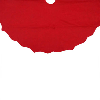 "48"" Christmas Traditions Cardinal Red Scalloped Edge Christmas Tree Skirt"