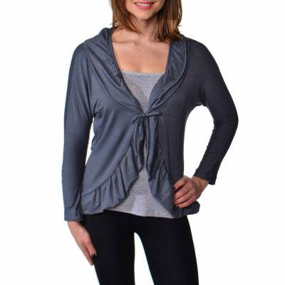 24/7 Comfort Apparel Women's Long Sleeve Tie FrontJacket