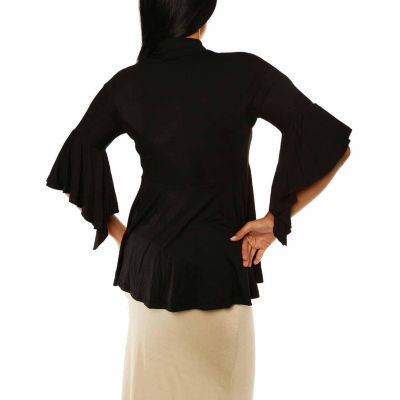 24/7 Comfort Apparel Women's 3/4 Bell Sleeve ShrugWith Front Tie