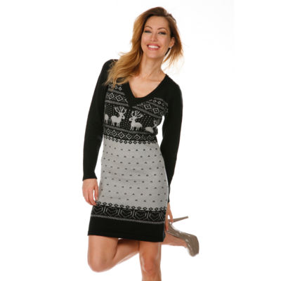 White Mark Holiday Sweater Dress