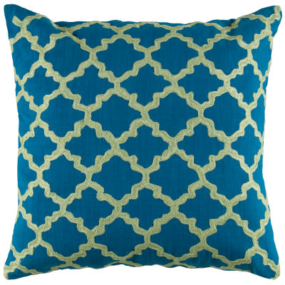 Rizzy Home Matthew Moroccan Tile Pattern Embroidered Decorative Pillow