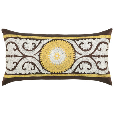 Rizzy Home Joseph Medallion With Scrollwork Embroidered Decorative Pillow