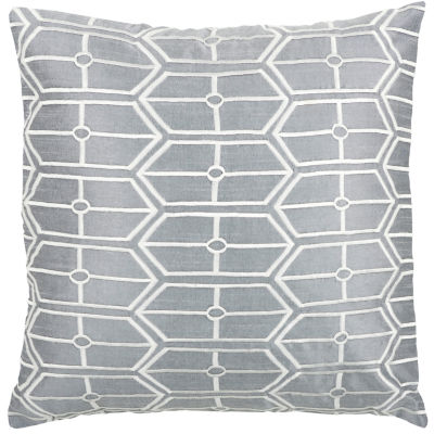 Rizzy Home Sebastian Geometric Embroidered Shapes Decorative Pillow