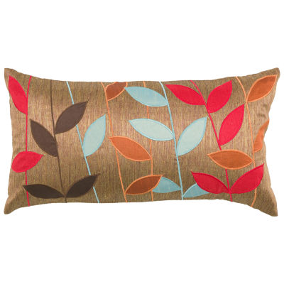 Rizzy Home Cody Leaves Applied  Decorative Pillow
