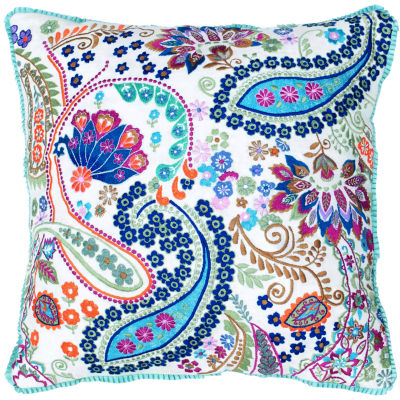 Rizzy Home Patrick Paisley Floral Decorative Pillow