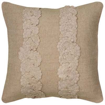 Rizzy Home Audrey Vertical Crochet Stripes On Solid Dimensional Decorative Pillow