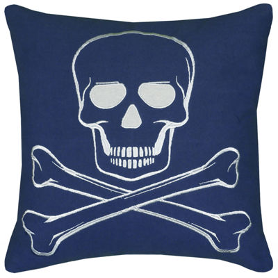 Rizzy Home Jenna Skull And Cross Bones Decorative Pillow
