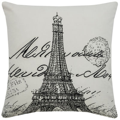 Rizzy Home Molly Eiffel Tower Script Decorative Pillow