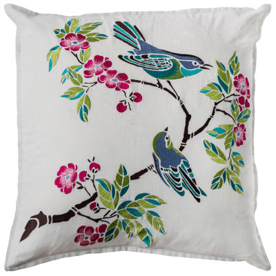 Rizzy Home Hunter Floral With Bird And Branch Decorative Pillow