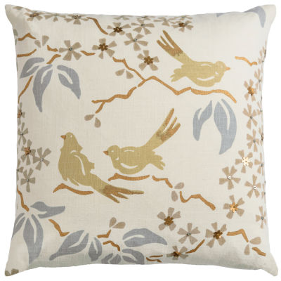 Rizzy Home Annie Floral With Birds Decorative Pillow