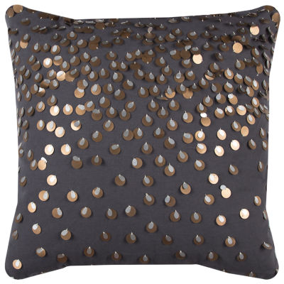 Rizzy Home Sara Sporadic Sequins In Copper And Silver Decorative Pillow