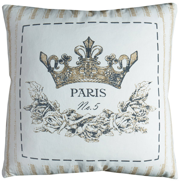 Rizzy Home Adam Cotton Duck  Printed Decorative Pillow