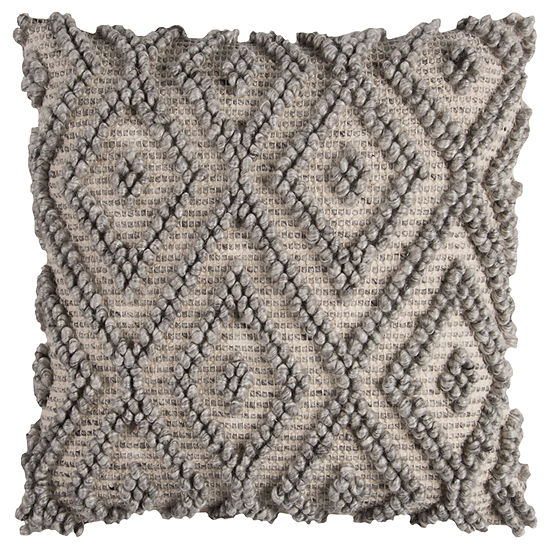 Rizzy Home Clementina Diamond Canvas Duck Back Wool Front Decorative Pillow