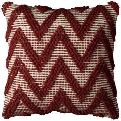 Rizzy Home Augustina Red Chevron Texture Decorative Pillow
