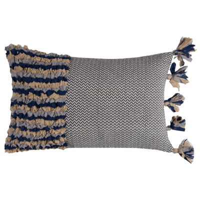 Rizzy Home Arden Color Block With Tassels Decorative Pillow