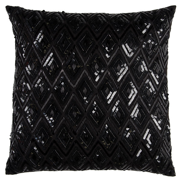 Rizzy Home Rex Diamond Sequences Textural Decorative Pillow