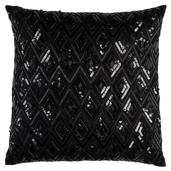 Rizzy Home Rex Diamond Sequences Textural Decorative Pillow