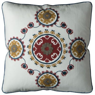 Rizzy Home Hermione Medallion Floral Pattern Decorative Pillow