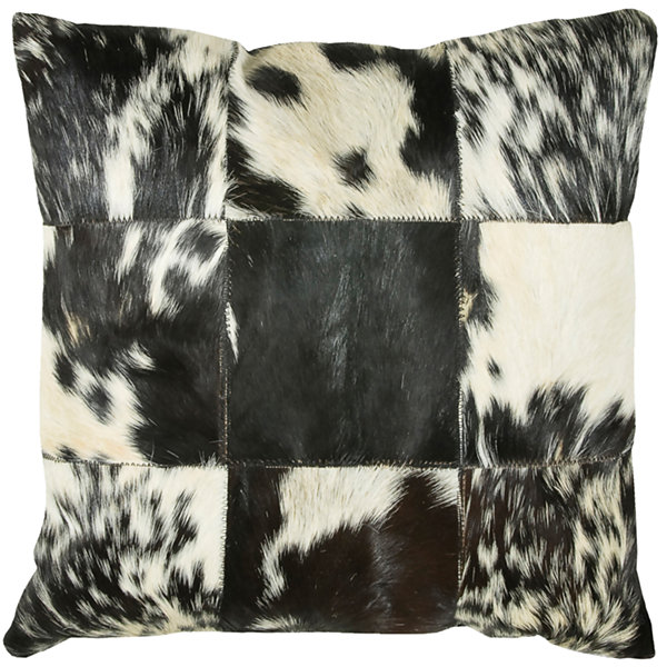 Rizzy Home Richard Hair On Hide Squares Decorative Pillow