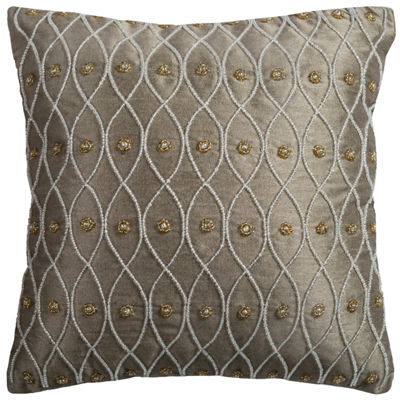 Rizzy Home Angie Hand Beaded Ironwork  Decorative Pillow