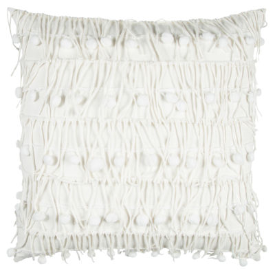 Rizzy Home Doug Deconstructed Fabric With Decorative Balls Decorative Pillow