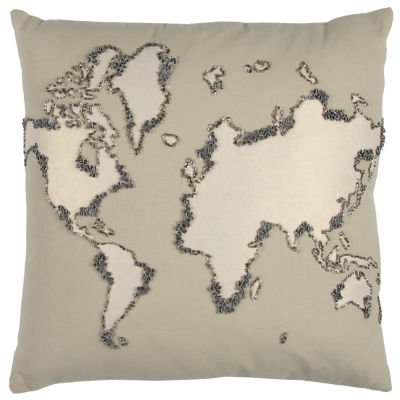 Rizzy Home Harvey World Map Decorative Pillow