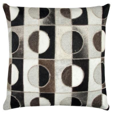 Rizzy Home Erica Geometric Sewn Genuine Fur Decorative Pillow