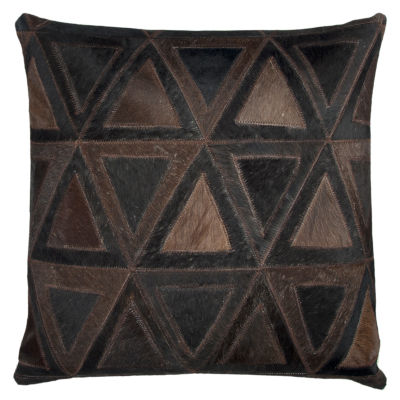 Rizzy Home Felicia Geometric Sewn Genuine Fur Decorative Pillow