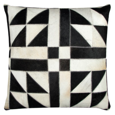 Rizzy Home Maria Geometric Sewn Genuine Fur Decorative Pillow