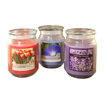 Scented Candles- Floral Collection in 18oz Glass Jars (Set of 3)